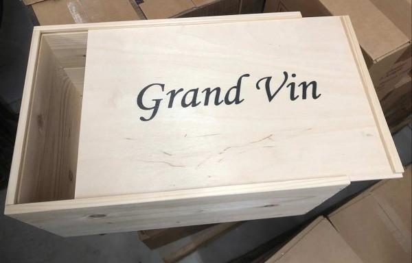 "3er Geschenkverpackung Holz ""Grand Vin"" Schiebedeckel"